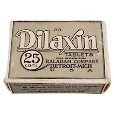 Vintage Dilaxin Laxative Tablets Medicine Box Medical Advertising