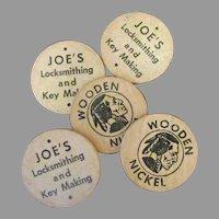 Vintage Wooden Nickel Advertising Tokens – Joe's Locksmithing & Key Making