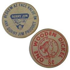 Vintage Wooden Dickel Advertising Tokens from Sunny Jim – 8c Wood Nickel