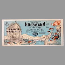 Vintage Advertising Ink Blotter – AAA Hotel Hussmann El Paso Texas Aviation Headquarters