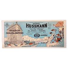 Vintage Advertising Ink Blotter – AAA Hotel Hussmann El Paso Texas Aviation Headquarters
