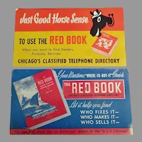 2 Different Vintage Advertising Ink Blotters - Chicago Red Book Phone Directory