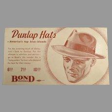 Vintage Advertising Ink Blotter - Dunlap Hats for Men at Bond Clothes