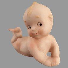 Vintage Porcelain Bisque Kewpie-Like Baby Lying on Stomach
