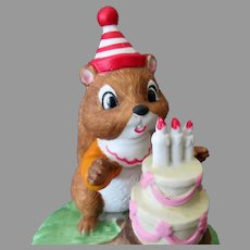 Vintage Chipmunk & Birthday Cake Music Box - Doolittle's Talk To the Animals