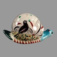 Vintage Mexican Pottery - Big Snail with Colorful Bird Design