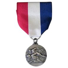 Vintage Swimming Sports Medal on Ribbon - Silvertone with Swimmers - Made in Italy