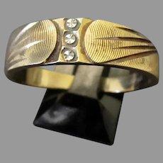 Man's Vintage 14k Yellow Gold Wedding Band, Bright-cut White Gold – 10 ½+ Ring
