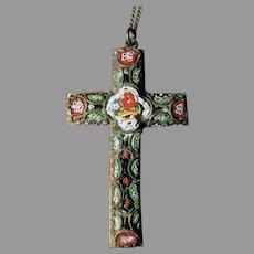 "Vintage 2"" Long Micro Mosaic 2"" Cross Pendant with Nice Filigree"