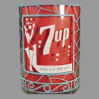 Unusual Vintage Seven-Up Advertising Soda Glass - 7-Up