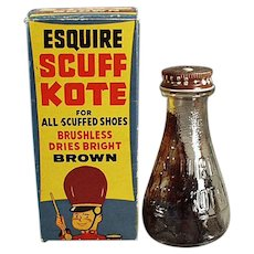 Vintage Esquire Scuff Kote Shoe Polish Bottle with Fun Circus Graphics on Box