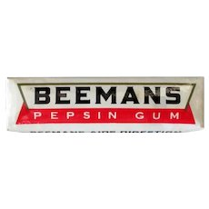 Vintage Gum Package with Five Sticks of Beemans Pepsin Chewing Gum