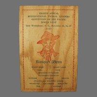 Vintage 1927 Wooden Menu and Program for Pacific Northwest Boy Scout Banquet