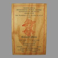 Vintage 1927 Wooden Menu and Program for Pacific Northwest Boy Scout Banquet