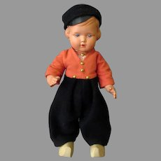 Vintage Celluloid Dutch Boy Doll – Plawo Holland – Original Clothes & Wooden Shoes