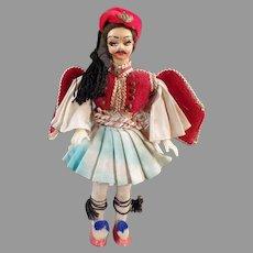 Vintage Greek Doll - Plastic Doll in Traditional Greek Ethnic Costume