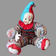 Vintage Cloth Yo-Yo Clown Doll - Quilt Circles - Doll for Child's Bedroom