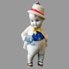Small Vintage Bisque Boy Nodder – Hand Painted German Boy Doll