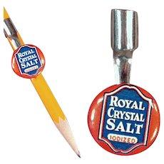 Vintage Celluloid Pencil Clip - Advertising Royal Crystal Salt