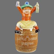 Vintage Porcelain Nip - Little Scotch Porcelain Flask - Made in Japan