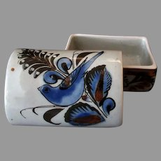 Mexican Pottery Covered Dresser Jar with Blue Bird and Little Snail Signature