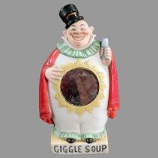 Vintage German Schafer & Vater Porcelain Flask - Giggle Soup Clown Whimsy