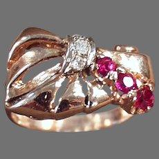 Ladies Vintage 14k Rose Gold Retro Ring -  Rubies & Diamonds