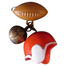 Vintage Plastic Sports Pin – Football, Baseball and Helmet