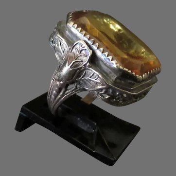 Vintage Ladies Filigree Ring with Large, Pale Amber Colored Stone – Size 2