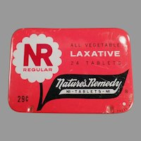 Vintage Medicine Tin - Nature's Remedy - NR Regular Laxative - Old Medical Advertising