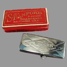 Vintage Safety Razor Blade Sharpener - Stanford Five Second Sharpener with Original Box