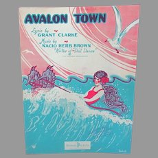 Vintage Sheet Music – Avalon Town with Fun Ocean Graphics 1928 with Ukelele Arrangement