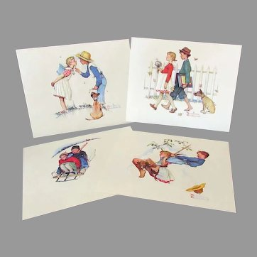 Vintage Norman Rockwell Prints - Young Love - Set of 4, Unframed