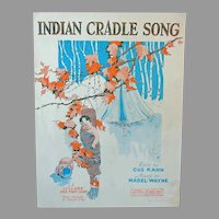 Vintage Sheet Music – Indian Cradle Song – 1927 with American Indian Graphics