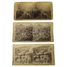 3 Vintage Stereoscopic Cards – Historic, International Scenic Views - Japan, Greece & Palestine