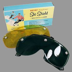 Vintage Bausch & Lomb Ski Shield Goggles with Two Lenses - Original Box