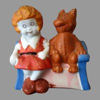 Vintage Orphan Annie Toothbrush Holder – Painted Bisque,  Annie and Sandy