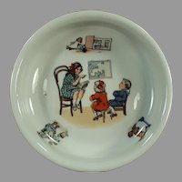 Vintage Baby Plate Dish - Teacher and Children's Geography Lesson - Germany