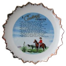 Vintage Hanging Plate with A Cowboy's Prayer Poem
