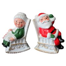 Vintage S&P Santa and Mrs. Claus in Rocking Chairs Salt & Pepper Set