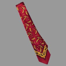 Men's Vintage Neck Tie – Classic Paisley in Maroon and Gold