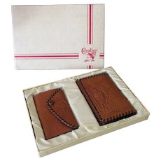 Vintage Cavalier Wallet Billfold and Matching Key Holder in Original Gift Box – 1950's
