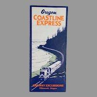 Vintage Map - Portland Tillamook Oregon Coastline Express Rand McNally Map