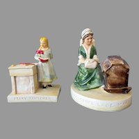 Two Vintage Sebastian Miniature Figurines – Colonial Lace Maker with Label & Becky Thatcher