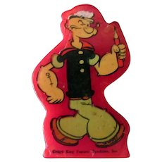 Vintage Red Catalin Popeye Decal Pencil Sharpener