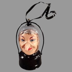 Vintage Battery Operated Halloween Witch Lantern - B.O. Celluloid Witch
