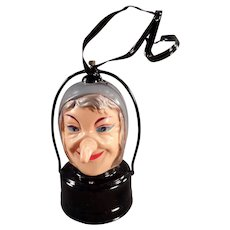 Vintage Celluloid Halloween Novelty B.O. Witch Lantern - Battery Operated