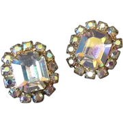 Vintage Costume Jewelry Earrings – Large, Colorful Aurora Borealis Surrounded by Smaller Rhinestones