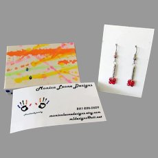 Artisan Made Red Bead Earrings – Pierced Dangle Design – Monica Leone