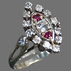 Ladies Vintage Estate Jewelry - Diamond and Ruby Cocktail Ring in 14K White Gold